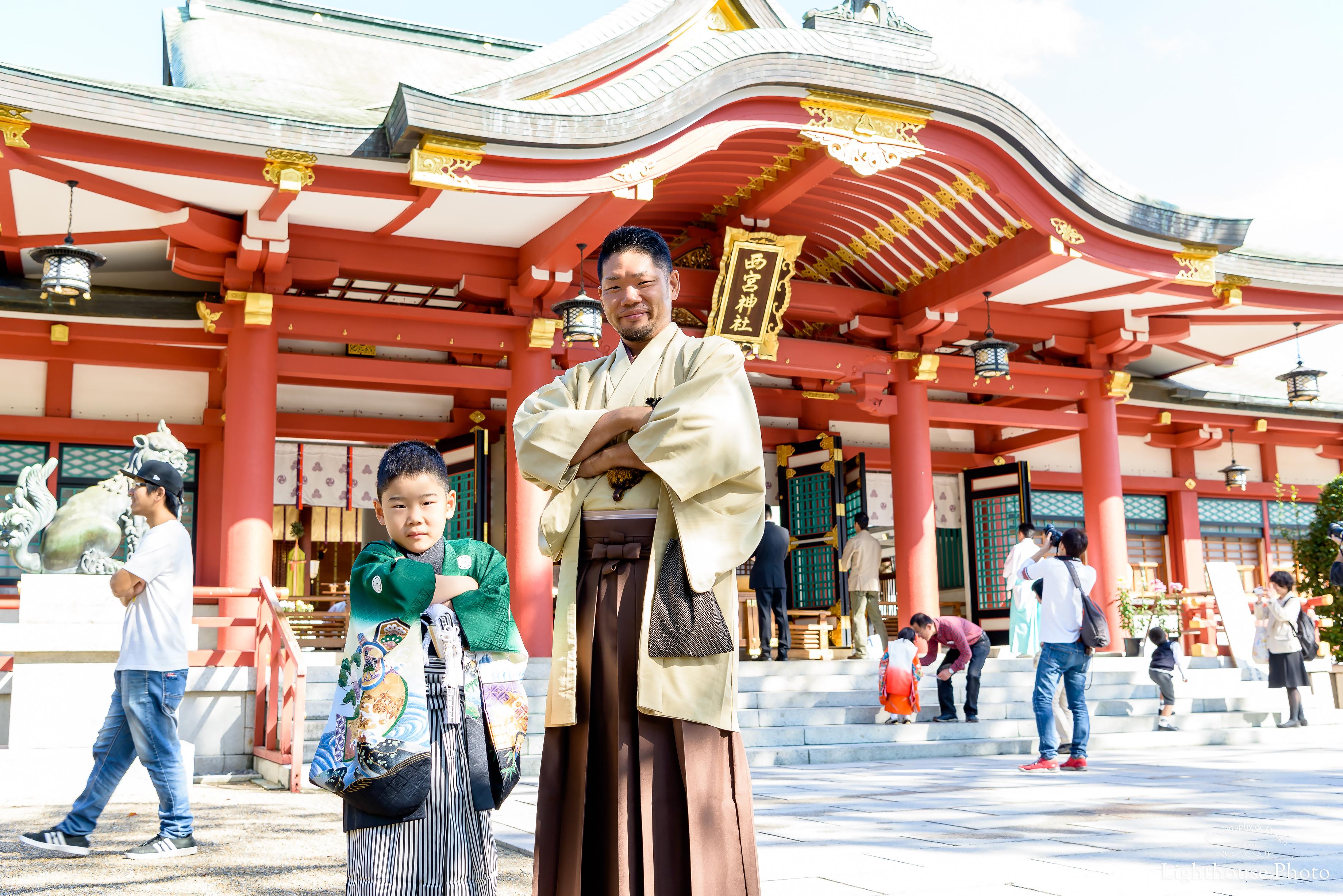 みんなでお着物を着て・・・3歳女の子と5歳男の子の七五三@西宮神社-1