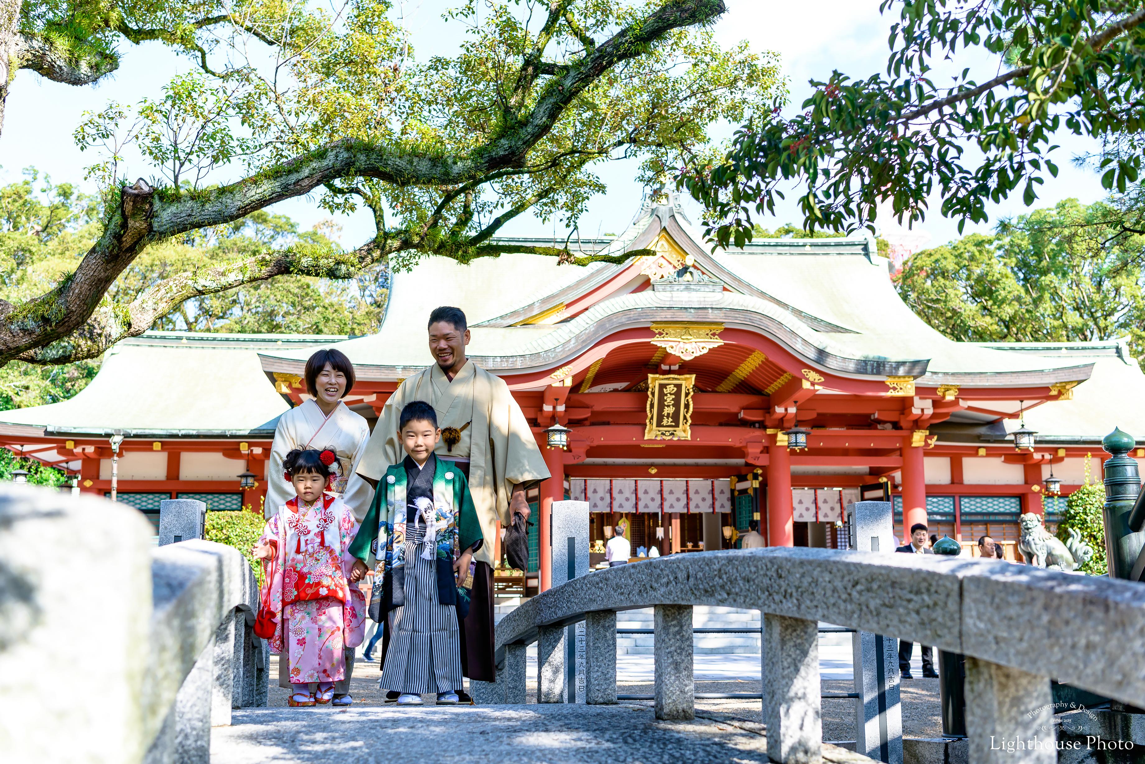 みんなでお着物を着て・・・3歳女の子と5歳男の子の七五三@西宮神社