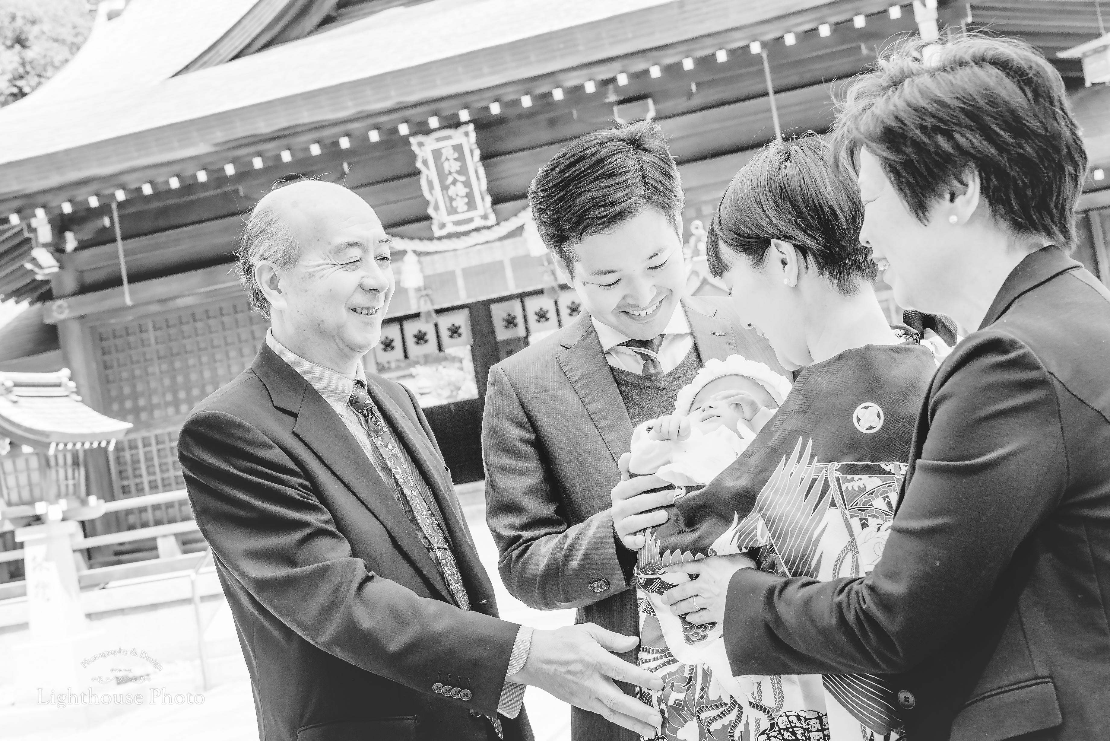 桜満開!!神戸須磨区の多井畑厄除八幡宮にてお宮参り撮影-1